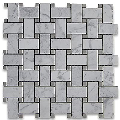 Carrara White Italian Carrera Marble Basketweave Mosaic Tile Gray Dots 1 x 2 Honed by Stone Center Online