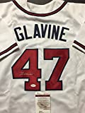 Autographed/Signed Tom Glavine Atlanta White Baseball Jersey JSA COA