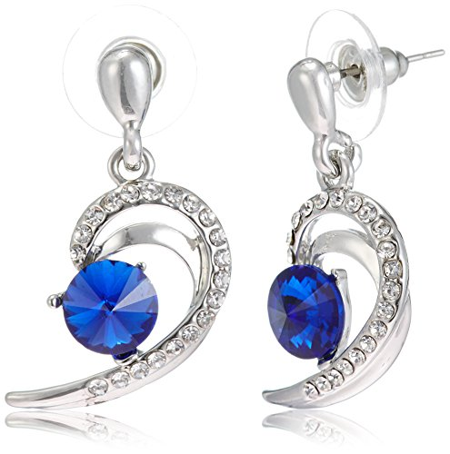 NewU Silver Plated Dangle Earrings with Blue Stone