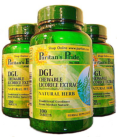 Puritan's Pride DGL Chewable Licorice Liquorice Extract Herbal Supplement 100 Tablets