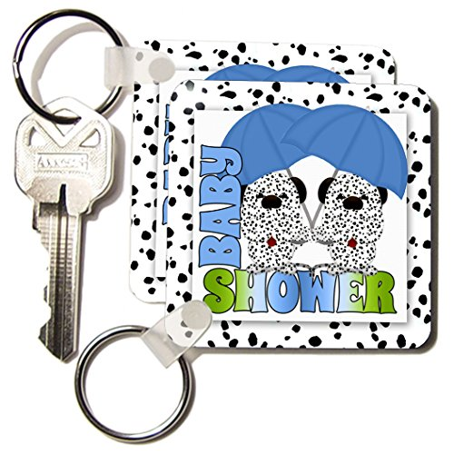 Kc_173024_1 Doreen Erhardt Baby Designs - Identical Twins Boys Baby Shower Dalmatians Blue And Green - Key Chains - Set Of 2 Key Chains