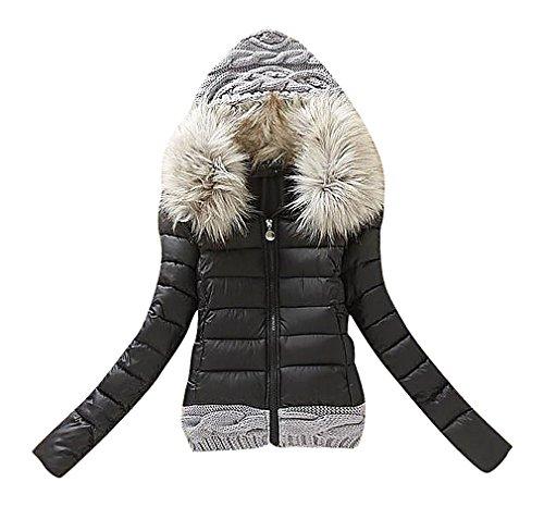 Maze, Women's Baffle Quilted 2 Color Faux Fur Hood Cable Knit Detail Puff Jacket, Black XXL ,Manufacturer(XXXL) (Fur Trim Hood Vest compare prices)