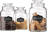 Quality Canister Set Of Set of 3 Clear Glass Round Chalkboard Jar with Tight Lids for Bathroom or Kitchen - Food Storage Containers