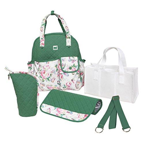 Damai Large Cotton Design 5Pcs/Set Diaper Tote Bag / Backpack / Shoulder Bag 3 Carrying Ways (Dark Green) front-849926