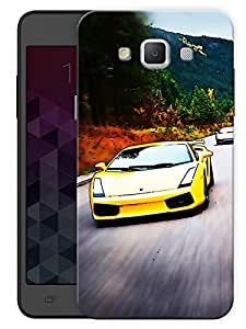 "Humor Gang Yellow Sports Car Printed Designer Mobile Back Cover For ""Samsung Galaxy E7"" (3D, Matte, Premium Quality Snap On Case)"