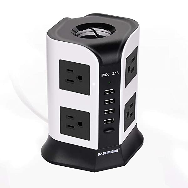 USB Surge Protector Power Strip 8 AC Plug 4 Multi USB Outlets Charging Ports Long Extension Cord 110V Safemore Vertical Socket for USB Lamps (White + Black) (Color: White&Black, Tamaño: 8 AC 2.1A)