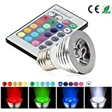 Remote Control Adjustable 16 Color LED Spotlight Bulb 3W E27 Socket Type Lifespan 50000 hours