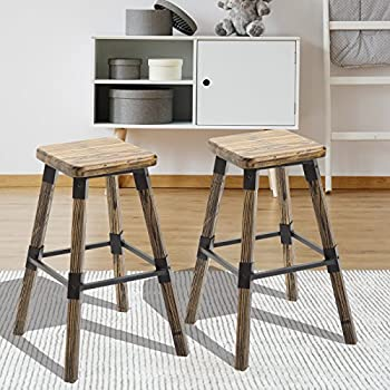 "Festnight Set of 2 Rustic Counter Bar Stools Wooden Top Armless Chair Seat Square Barstool 26"" H"
