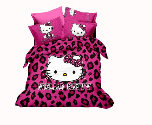 Cliab Home Textile Hello Kitty Purple Leopard Bedding Queen Size Duvet Cover Set 100 Percent Cotton