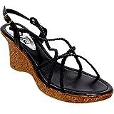 FANTASIA Ladies Criss Cross Thin Woven Strap Women's Medium Wedges Sandals Shoes