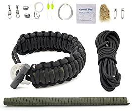 Gecko Equipment BlackInner OD Green Adjustable Premium Paracord Bracelet with Survival kit and Fire