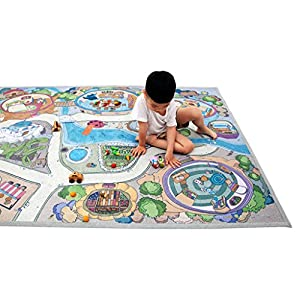 """[LEPAPA] 78.7"""" x 55.1"""" Baby Kids Toddler Le Bonheur Microfiber Fairy Tale Lite Play Mat Carpet for Indoor and Outdoor Use, 3D Graphic, Interactive & Complex Play"""