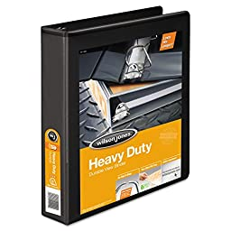 Wilson Jones Heavy Duty D-Ring View Binder, 1.5 Inch, Letter Size, Customizable, Black (W385-34BPP)