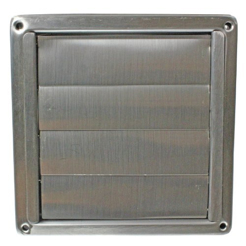 First4Spares Stainless Steel Square External Extractor Wall Vent Outlet With Gravity Flaps 100Mm 4