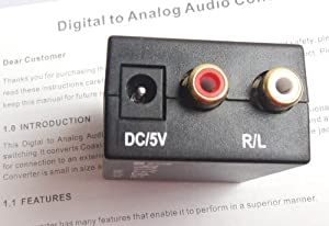 Easyday Digital Optic Coaxial RCA Toslink Signal to Analog Audio Converter Adapter with 1.5m Optical Cable