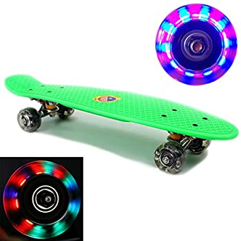 "Plastic Skateboard LED Light Up Wheels Penny Retro 22"" Mini Street Cruiser - High Strength Skate Sun Board Deck Vintage Surf, Ultra Durable & ABEC-7 Bearings, *100% Money Back Guaranteed*"