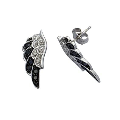 Adara 9 ct White Gold Diamond Black and White Angel Wings Earrings