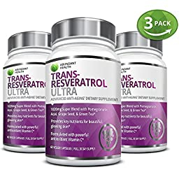 3 Bottle Bundle - Save an Extra 10% - TRANS-RESVERATROL ULTRA - 60 Capsules - Anti-Aging Super Blend Supplement with Green Tea, Acai, Grape Seed Extract, and Antioxidant Vitamin C