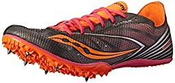 Saucony Women\'s Endorphin MD4 Track Spike Racing Shoe,Silver/Orange/Pink,7 M US