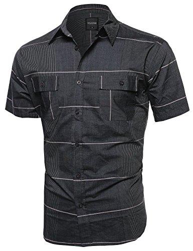multi-stripe-button-down-short-sleeve-shirt-charcoal-size-l