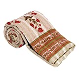 Rama Beige & Red Color Floral Design Fiber Filled Jaipuri Razai Single Bed Quilt