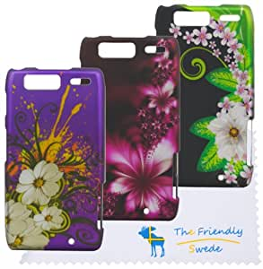 The Friendly Swede (TM) Bundle of 3 Flower Rubberized Painting Hard Cases for Motorola Droid Razr Maxx XT913 XT916 + Cleaning Cloth and Retail Packaging