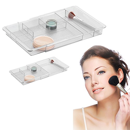 Serene Bathroom Vanity Expandable Drawer Organizer, Clear, Makeup & Cosmetics front-58719