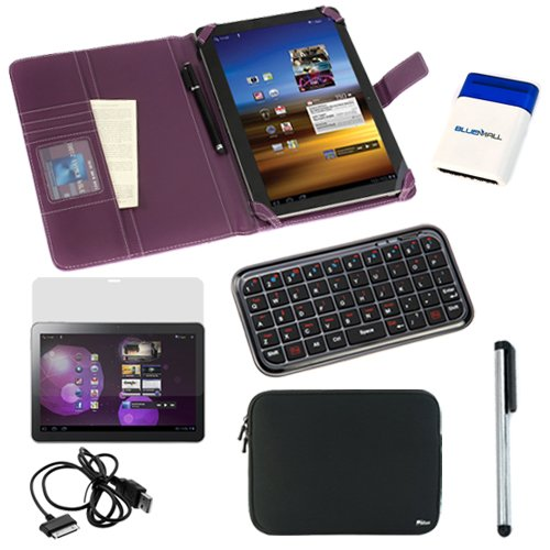 GTMax Purple Wallet Leather Case + Neoprene Zipper Sleeve Case + Screen Protector + Bluetooth Wireless Keyboard + USB Cable + Universal Stylus + Mini Brush for Samsung GALAXY Tab 10.1 inch GT-P7500 / GT-P7510 / SCH-I905 / Galaxy Tab 2 P5100 / P5110