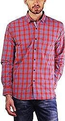 PRIKNIT Men's Cotton Shirt (AF-S1-RUSTB, Red Checks, 38)