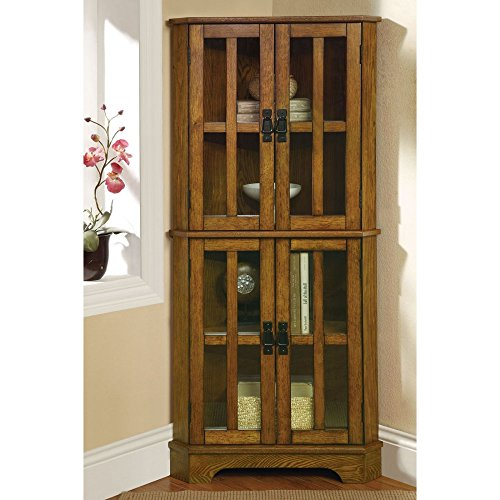 Coaster Home Furnishings Contemporary Curio Cabinet, Warm Brown (Corner Display Cabinet compare prices)