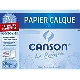 Canson 400022292 Pochette calqué 24 x 32 cm + Pastilles adhésives Blanc