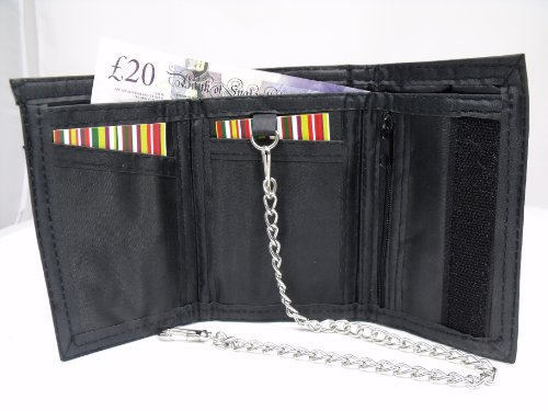 MENS BLACK LEATHER VELCRO FASTENING SPORTS WALLET WITH DETACHABLE CHAIN 1932