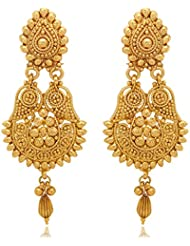 Traditional Ethnic Gold Plated Teardrop Dangler Earrings For Women By Donna ER30024GC