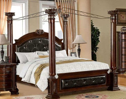 Video review mandalay eastern king canopy bed with tufted headboard best - Lit baldaquin king size ...