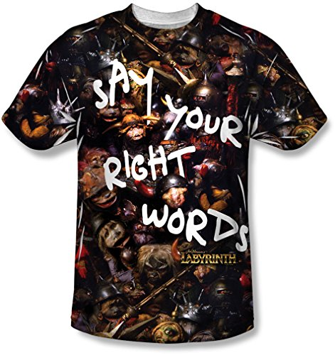 Labyrinth - Mens Right Words T-Shirt, Size: X-Large, Color: Sublimate White