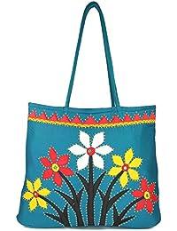 Women Cottage Blue Cotton Flower Bunch Patch Work Bag
