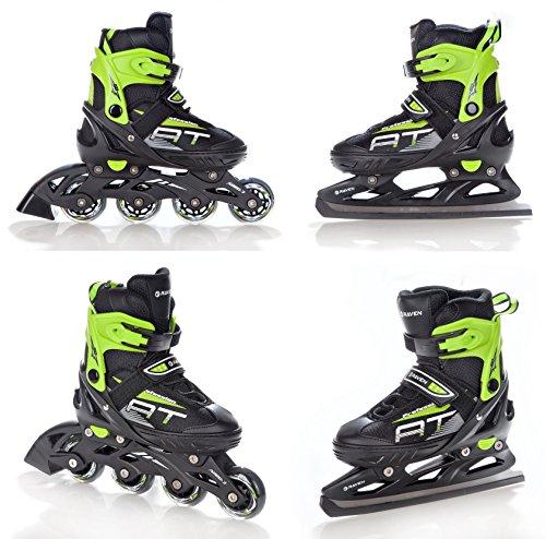 2in1-Schlittschuhe-Inline-Skates-Inliner-Raven-Profession-BlackGreen-verstellbar