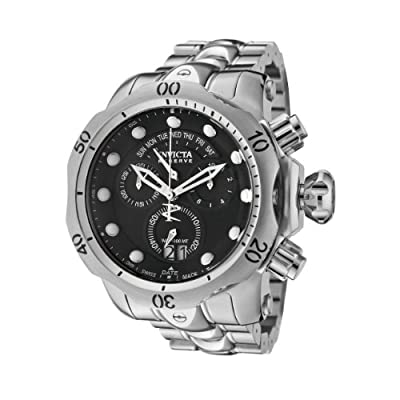 Invicta Men's 1539 Reserve Venom Chronograph Black Dial Stainless Steel Watch