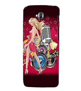 Fuson Music Girl Back Case Cover for LG G PRO LITE - D3634