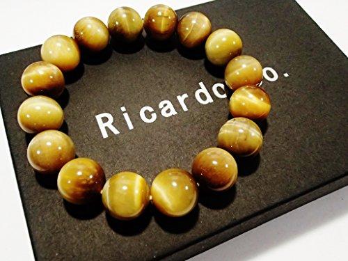 Ricardo&Co. 金運 ・ 仕事運 ・ ギャンブル運 を呼び起こす 最強の パワーストーン 。希少性の高い 高級天然石 【AAA級】 ゴールデン タイガーアイ ブレスレット 全5サイズ / ゴールド ターガーアイ / キャメル タイガーアイ (D.12mm)