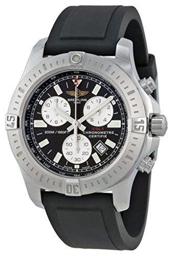 Breitling Colt Chronograph Black Dial Black Rubber Mens Watch A7338811-BD43