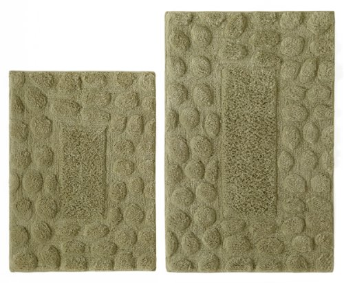 2 Piece Bath Rug Set - Pebbles Sage with Spray Latex back by Cotton Craft - Colors - Chocolate, Ivory, Azure Blue and Linen - 100% Pure Cotton - High Quality and absorbent - Super Soft and Plush - Hand Tufted Heavy Weight Durable Construction - Larger Rug