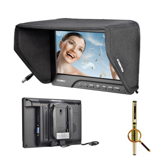 "Blueskysea® Free Gel Pen + Feelworld Fw689Hd 7"" Hd 800*480P Support 1280*1080P Movie On Field Camera Monitor Hdmi Vga Av Input Video Peaking Filter 5D Iii W/ Sun Shield"