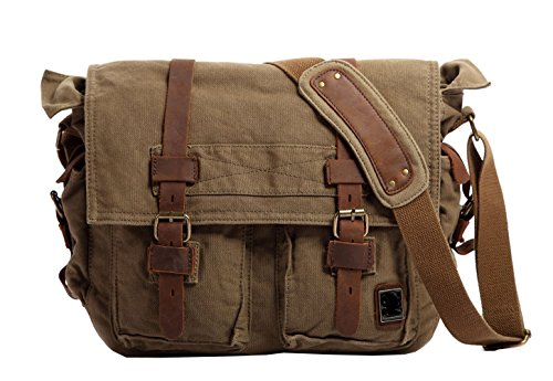 Men's Shoulder Bag, Berchirly Vintage Military Men Canvas Messenger Bag for 13.3-17.3″ Inch-Back to School