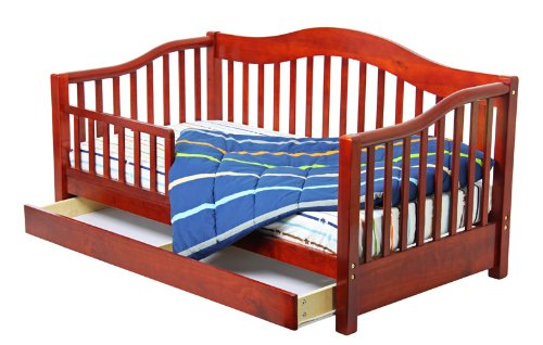 Dream On Me Toddler Day Bed With Storage Drawer, Cherry front-1017592