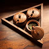 ExclusiveLane Triangular Jar Set With Tray & Spoon In Sheesham Wood - Spice Rack Spice Holders Masala Container
