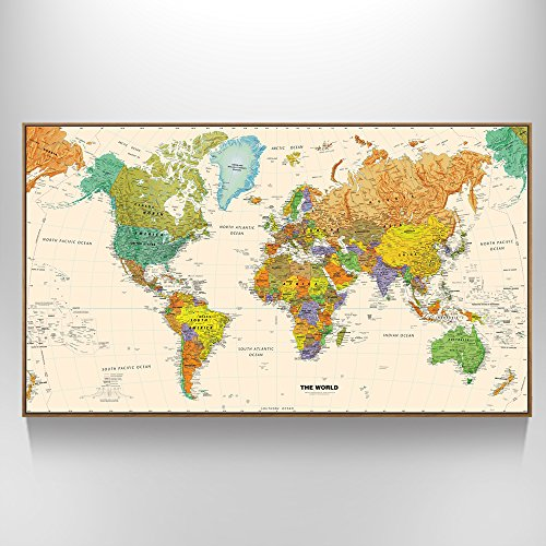 galleon creative art large size world map wall art natural framed art print picture wall. Black Bedroom Furniture Sets. Home Design Ideas