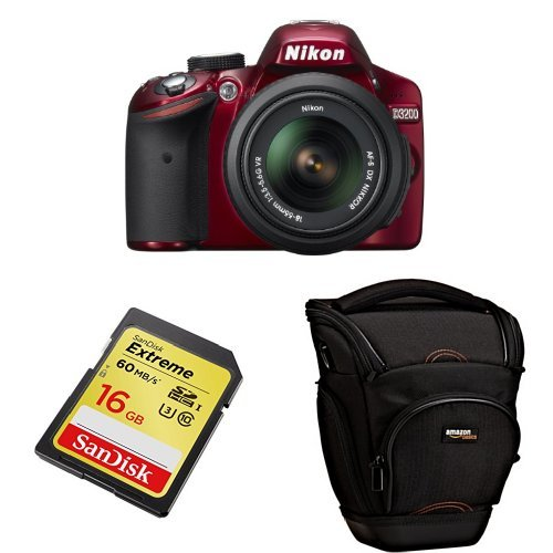 Nikon D3200 With 18-55Mm Lens (Red) + Free Accessories