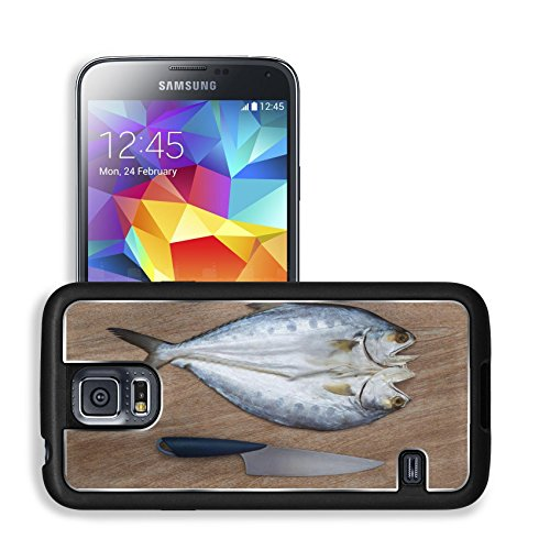 Luxlady Premium Samsung Galaxy S5 Aluminum Backplate Bumper Snap Case IMAGE ID: 42103137 Fresh fish cut on wooden background ready for cooking with a knife top view 1 (Samsung Omega Lcd Screen compare prices)