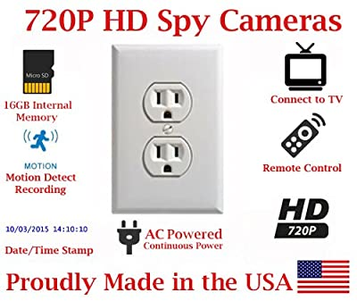 SecureGuard Power Receptacle Outlet 720P Spy Camera SD Card DVR Nanny Camera (WHITE AC POWERED)